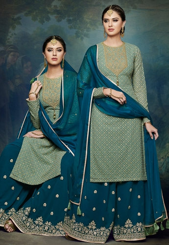 Pista Green & Blue Georgette Embroidered Palazzo Style Pakistani Suit - 1050