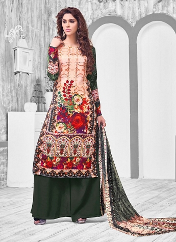Multicolor Cotton Printed Straight Palazzo Suit - 106