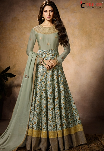 Jennifer Winget Sky Blue Georgette-Silk Floor Length Anarkali Suit-11027