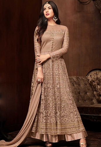 Sonal Chauhan Light Brown Long Anarkali Suit - 1104