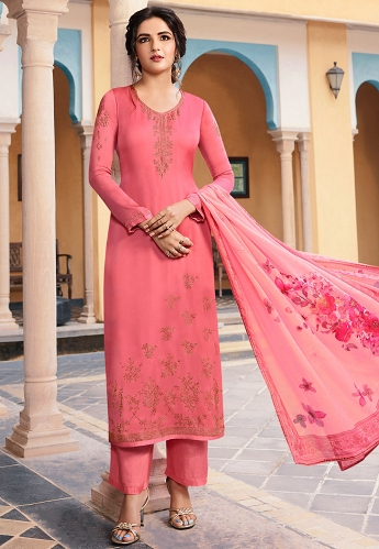 Bubbly Pink Satin Georgette Straight Trouser Suit - 11043