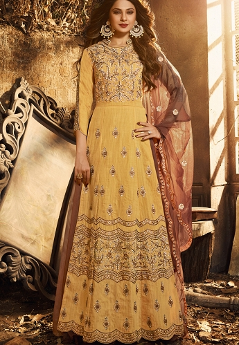 Jennifer Winget Yellow Pure Silk Embroidered Anarkali Suit - 11044