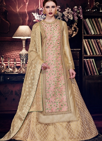 Beige Handloom Silk Floor Length Designer Anarkali Suit - 11058