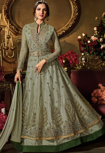 Green Shade Net & Satin Embroidered Lehenga Style Suit - 11062