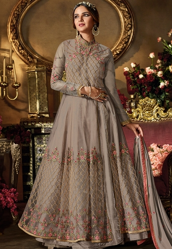 Grey Net & Satin Embroidered Floor Length Lehenga Style Suit - 11065
