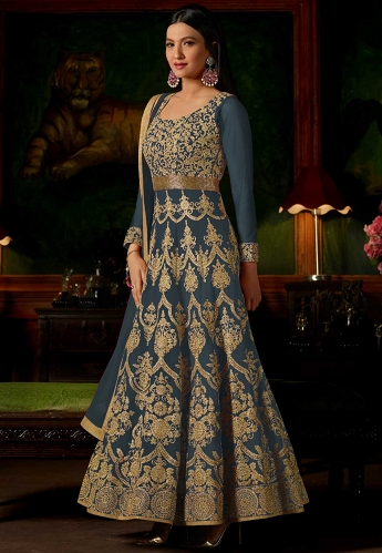 Gauhar Khan Teal Georgette Long Anarkali Suit - 12147