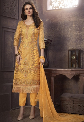 Mustard Organza Straight Embroidered Suit - 1237