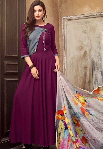 Purple Cotton Readymade Long Kurti - 14005