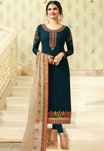 Prachi Desai Teal Georgette Churidar Suit - 1455
