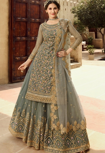 Grey Net Embroidered Sharara Style Suit - 15030