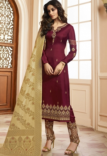 Wine Silk Straight Embroidered Trouser Suit - 15204