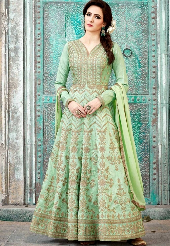 Green Silk Long Embroidered Anarkali Suit - 1587
