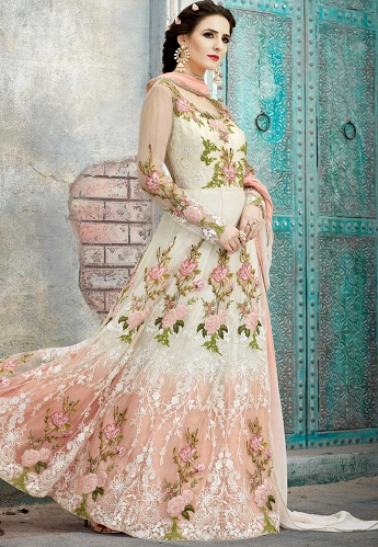Off White & Pink Net Floor Length Embroidered Anarkali Suit - 1590
