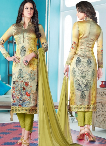 Light Green Satin Digital Printed Pant Style Suit 1609