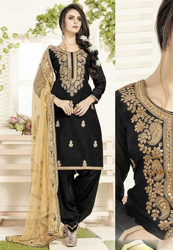 Black Chanderi Patiala Suit with Embroidered Dupatta - 18005