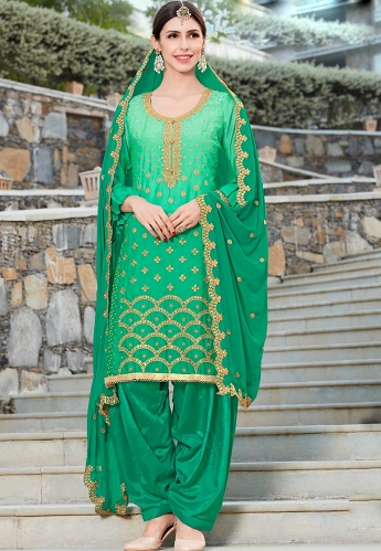 Green Silk Punjabi Suit - 20001
