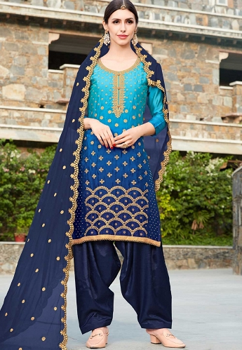 Navvy Blue Silk Punjabi Suit - 20003