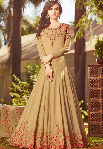 Beige Georgette Embroidered Floor Length Anarkali Suit - 20026