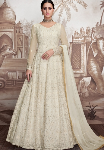 White Georgette Net Embroidered Anarkali Suit - 2004