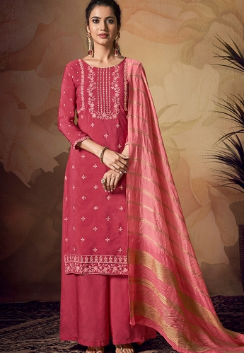 Pink Viscose Embroidered Palazzo Suit - 2101