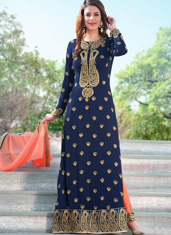 Navy Blue Georgette Straight Cut Trouser Style Suit - 2103