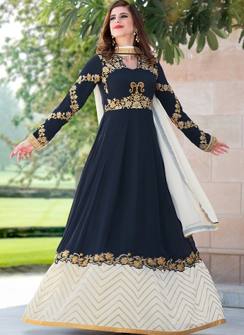 Dark Blue Georgette Abaya Style Anarkali Suit - 2105