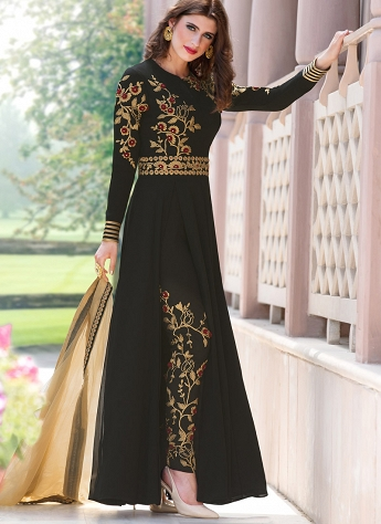 Black Georgette Embroidered Trouser Style Suit - 2106