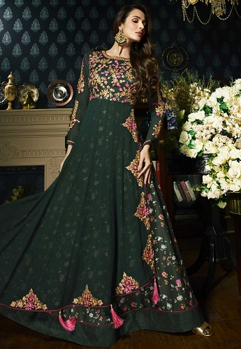 Malaika Arora Dark Green Georgette Floor Length Anarkali Suit - 21802
