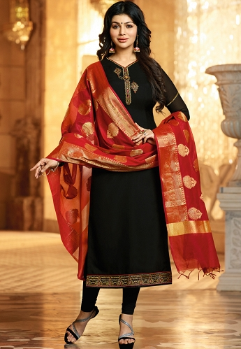 Ayesha Takia Black Georgette Satin Straight Churidar Suit - 21934