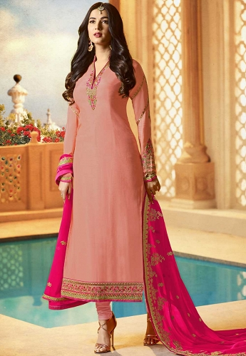 Sonal Chauhan Pink Georgette Straight Churidar Suit -21951