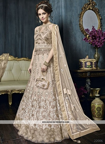 Beige Heavy Embroidered Lehenga Style Anarkali Suit
