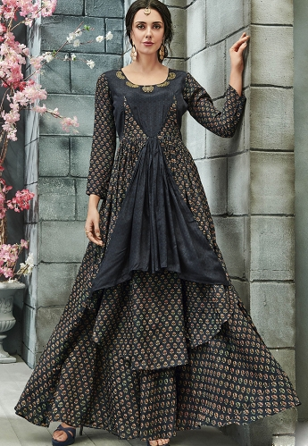 Grey Crepe Georgette Readymade Gown - 23