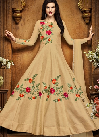 Beige Tussar Silk Floor Length Anarkali Suit - 2491