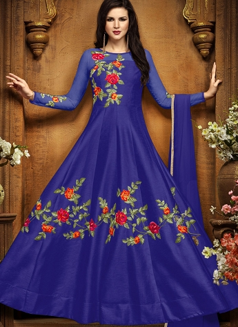 Royal Blue Tussar Silk Floor Length Anarkali Suit - 2494