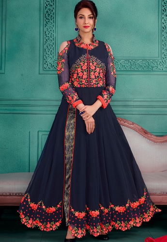 Navy Blue Georgette Long Anarkali Trouser Suit - 28001