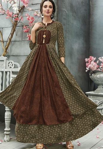 Green Crepe Georgette Printed Readymade Gown - 29