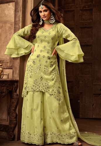Green Georgette & Satin Heavy Embroidered Sharara Style Pakistani Suit - 29004
