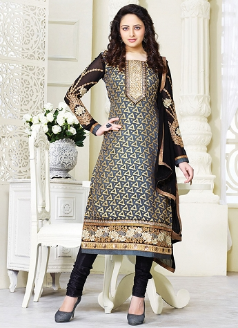 Aesthetic Grey Brasso Georgette Straight Churidar Suit