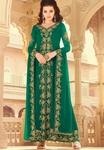 Green Georgette Embroidered Abaya Suit - 30026