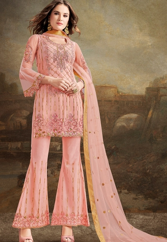 Pink Net Silk Embroidered Pakistani Trouser Suit - 30032