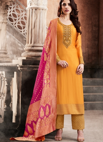 Gorgeous Orange Silk Palazzo Style Suit - 3069