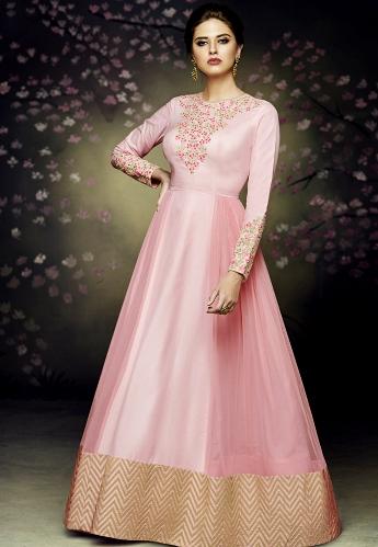 Pink Satin Silk Gown Style Anarkali Suit - 3075
