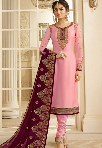 Drashti Dhami Pink Satin Georgette Embroidered Churidar Suit - 3203