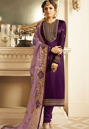 Drashti Dhami Purple Satin Georgette Embroidered Churidar Suit - 3206
