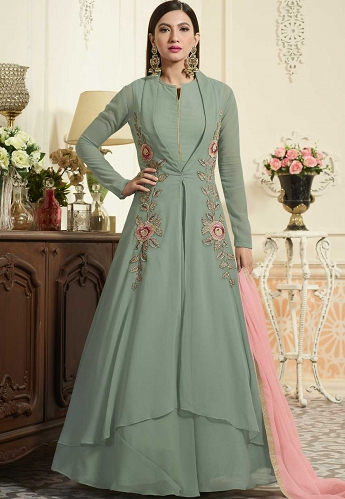 Gauhar Khan Grey Georgette Long Anarkali Suit - 34004