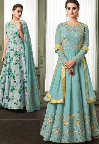 Sky Blue Georgette Long Embroidered Anarkali Suit - 37003