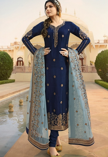 Navy Blue Jacquard Embroidered Straight Churidar Suit - 3706