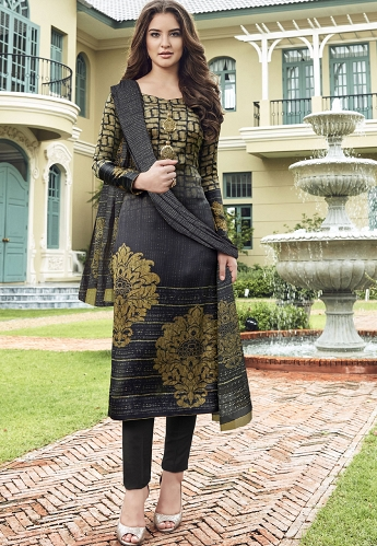 Multi Color Satin Printed Digital Trouser Style Suit - 3707