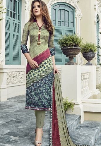Multi Color Satin Printed Pant Style Suit - 3711
