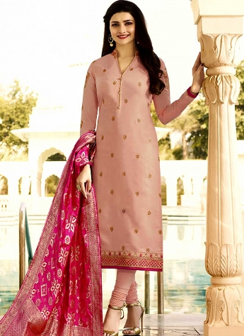 Prachi Desai Salmon Pink Silk Churidar Suit with Banarasi Dupatta - 3759